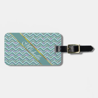 Rainbow Foil ZigZag Pattern Luggage Tag