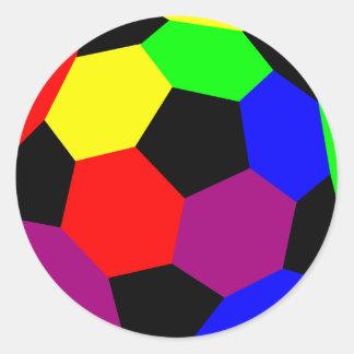 Rainbow Football in Rainbow Nation Classic Round Sticker