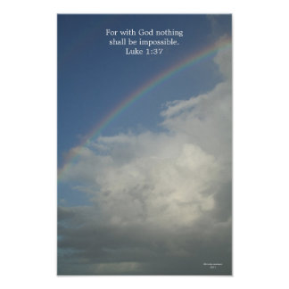 Rainbow for with God nothing is impossible Print