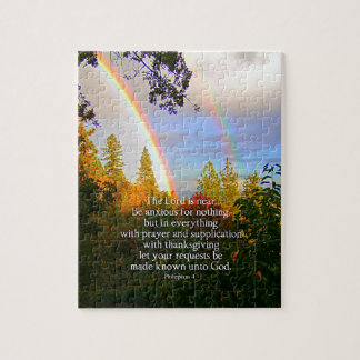 Rainbow Forest Christian Scripture Bible Verse Jigsaw Puzzle