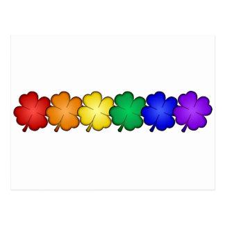 Rainbow Four Leaf Clovers Postcard
