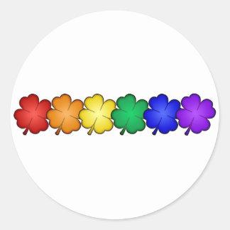 Rainbow Four Leaf Clovers Round Stickers