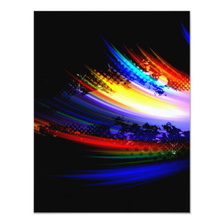 Rainbow Fractal Art Splatter Design Card