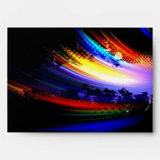 Rainbow Fractal Art Splatter Design Envelopes