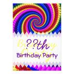 Rainbow Fractal Art Swirl Birthday Personalized Invitation