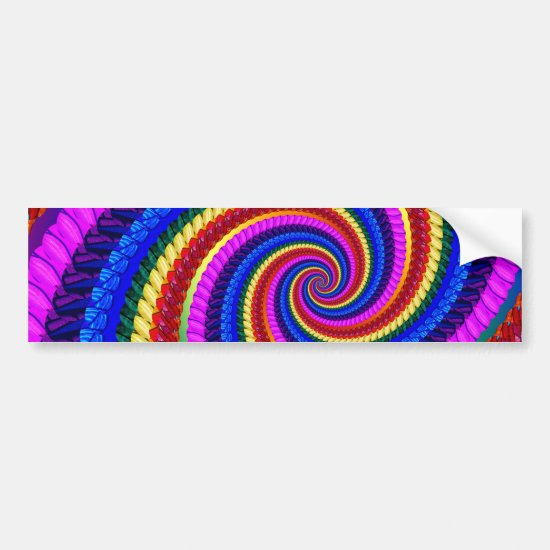 Rainbow Fractal Art Swirl Pattern Bumper Sticker
