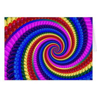 Rainbow Fractal Art Swirl Pattern Greeting Cards
