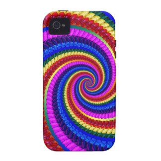 Rainbow Fractal Art Swirl Pattern iPhone 4 Cases