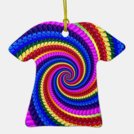 Rainbow Fractal Art Swirl Pattern Ceramic Ornament