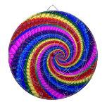 Rainbow Fractal Art Swirl Pattern Dart Boards