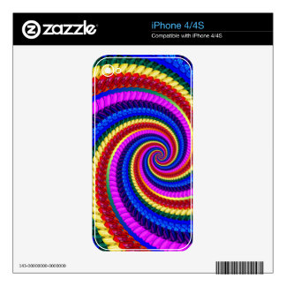 Rainbow Fractal Art Swirl Pattern Decal For iPhone 4
