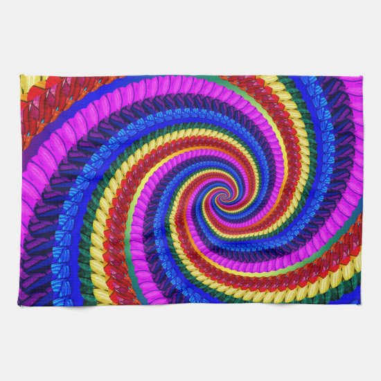 Rainbow Fractal Art Swirl Pattern Hand Towels