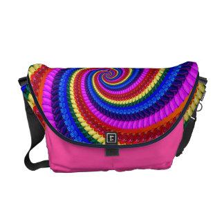Rainbow Fractal Art Swirl Pattern Messenger Bags