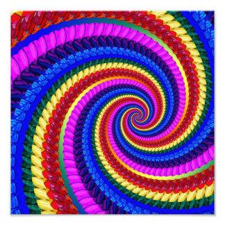 Rainbow Fractal Art Swirl Pattern Photo Print