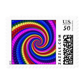 Rainbow Fractal Art Swirl Pattern Postage
