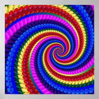 Rainbow Fractal Art Swirl Pattern Poster