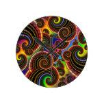 Rainbow Fractal Art Swirl Pattern Round Wallclocks