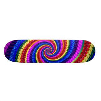 Rainbow Fractal Art Swirl Pattern Skateboard Deck