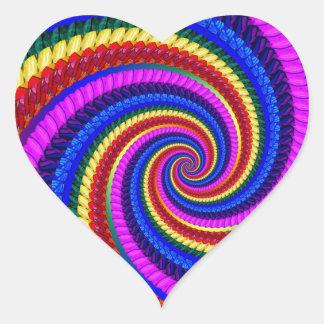 Rainbow Fractal Art Swirl Pattern Heart Sticker