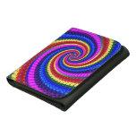 Rainbow Fractal Art Swirl Pattern Leather Trifold Wallet