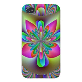 Rainbow Fractal Flower Speck Case Case For iPhone 4