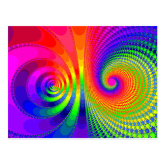 Rainbow Fractal Graphic Image Design Postcard