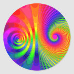 Rainbow Fractal Graphic Image Design Classic Round Sticker