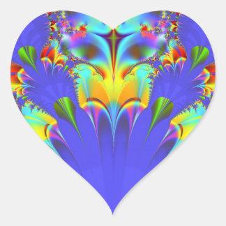 Rainbow fractal heart sticker