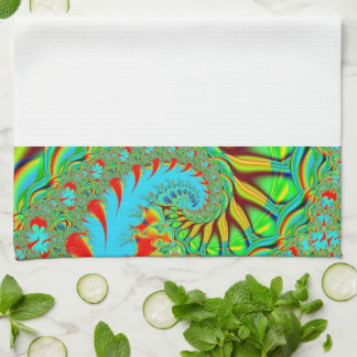 Rainbow fractal kitchen towel customizable