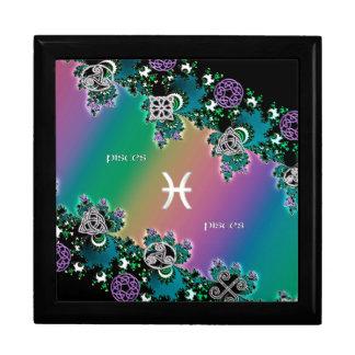 Rainbow Fractal Zodiac Sign Pisces Jewelry Box