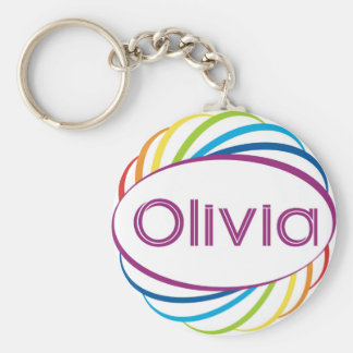 Rainbow frame Olivia Basic Round Button Keychain
