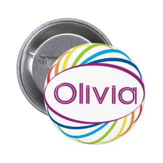 Rainbow frame Olivia Pinback Button