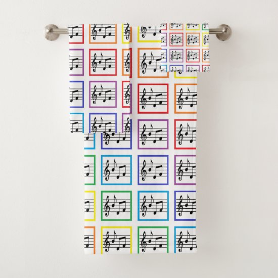 Rainbow Framed Musical Squares Bath Towel Set
