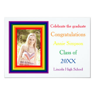 Rainbow Framed Photo - 3x5 Graduation Announcement