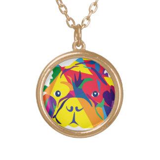 Rainbow French Bulldogge Round Pendant Necklace