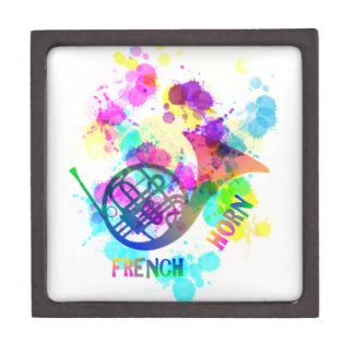 Rainbow French Horn Music Themed Gift Box