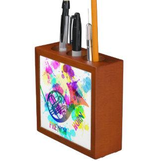 Rainbow French Horn Music Themed Pencil Holder