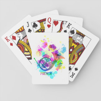 Rainbow French Horn Music Themed Playing Cards