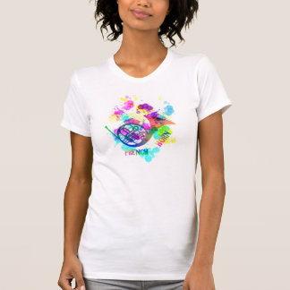 Rainbow French Horn Music Themed T Shirt