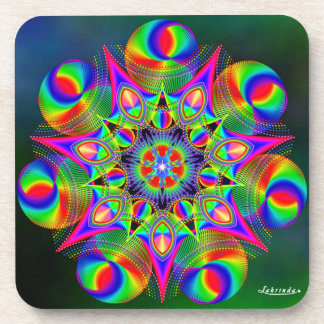 Rainbow Frequencies 7 Drink Coaster