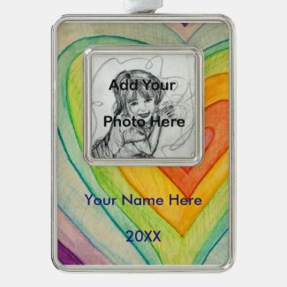 Rainbow Friendship Hearts Custom Art Ornaments