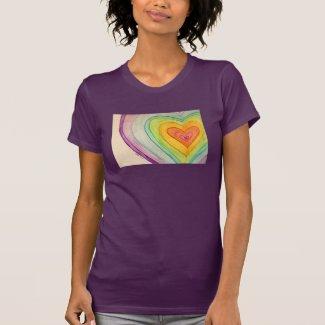 Rainbow Friendship Hearts Love Custom Art T-Shirts