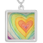 Rainbow Friendship Hearts Silver Necklace Pendants