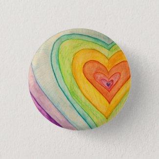Rainbow Frienship Hearts Art Buttons or Lapel Pins
