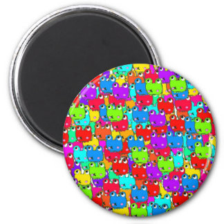 Rainbow frogs 2 inch round magnet