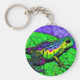 Rainbow Frogs Basic Round Button Keychain