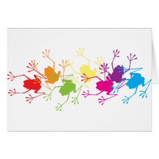 Rainbow Frogs Greeting Card