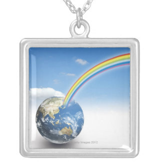 Rainbow from Earth 2 Silver Plated Necklace