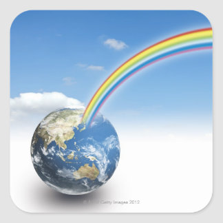 Rainbow from Earth 2 Square Sticker
