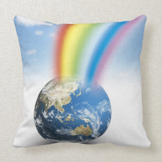 Rainbow from Earth Throw Pillow